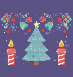 decorated tree star candles merry christmas card vector image