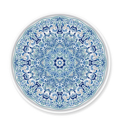 decorative plate with round ornament vector image