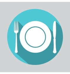 Dish fork and knife icon vector image