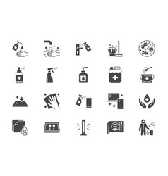 Disinfection flat icons vector