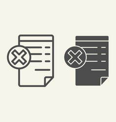 document with cancel sign line and glyph icon vector image