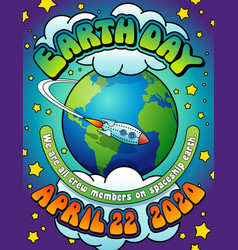 earth day 2020 psychedelic poster banner card vector image