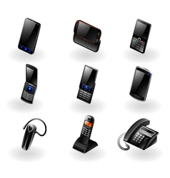 Electronics icon set - Phones and communication vector