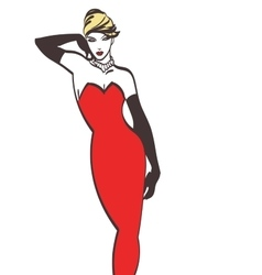 fashion lady in red art Eps 10 on layers vector image