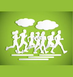 Flat running people sport maraphone cutout vector