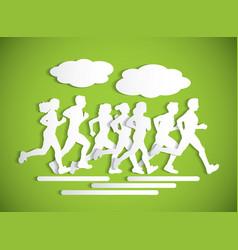 flat running people sport maraphone cutout vector image