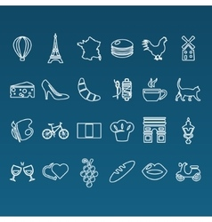 France outline icons vector