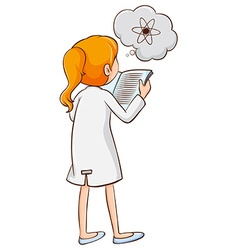 Girl reading a science book vector
