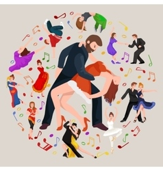 group dancing people yong happy man and woman vector image