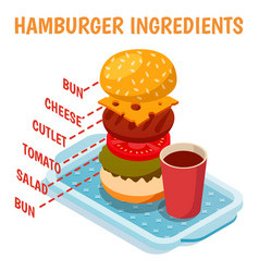 Hamburger ingredients isometric composition vector