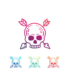 hand drawn skull with arrows isolated on white vector image