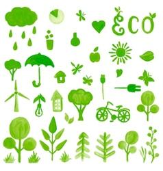 Handpaint watercolor green symbols vector image