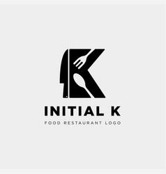 Initial k food equipment simple logo template vector