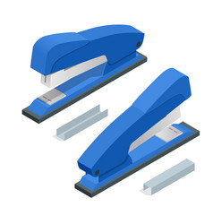isometric blue stapler and stapleson a white vector image