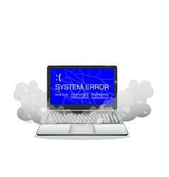 laptop with error screen vector image
