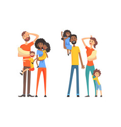 large families set tired parents and their vector image