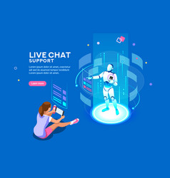 Live chat support isometric concept vector
