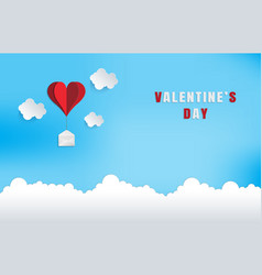 love and valentine dayorigami made red heart vector image