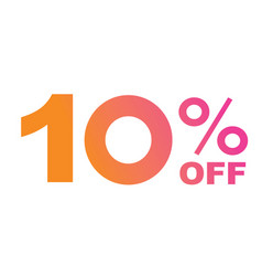 luxury gradient pink to orange ten percent off vector image