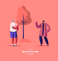 male and female characters in medical masks stand vector image