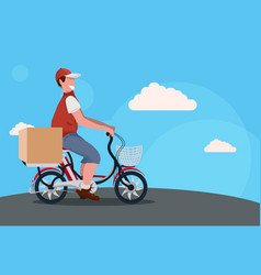 Man deliver cycling bicycle carrying parcel box vector