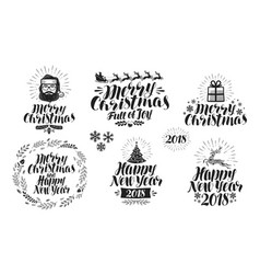 Merry christmas or happy new year label set xmas vector
