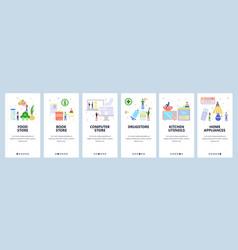 Mobile app onboarding screens food store book vector