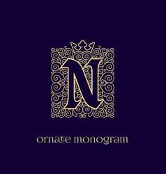 Monogram with crown n vector