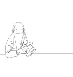One continuous line drawing young happy saudi vector