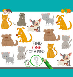 one of a kind game with dogs and cats vector image