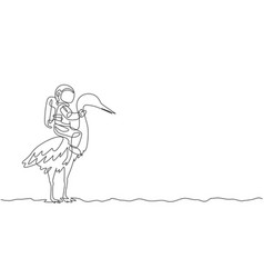 One single line drawing astronaut riding heron vector