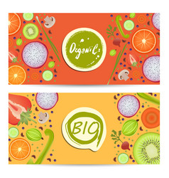 Organic food horizontal flyers set vector