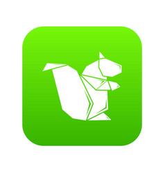 Origami squirrel icon green vector