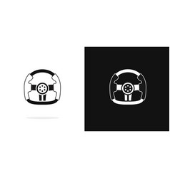race steering wheel black and white icon vector image