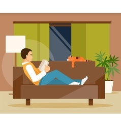 Reading man on sofa vector image