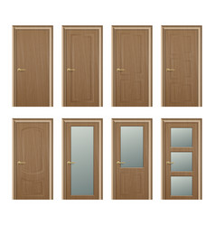 realistic different closed brown wooden vector image