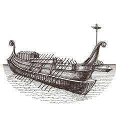 Retro ship logo design template boat or vector