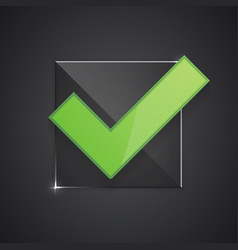 right check mark on glass substrate vector image