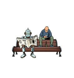 Robot reads morning newspaper a drunk man vector