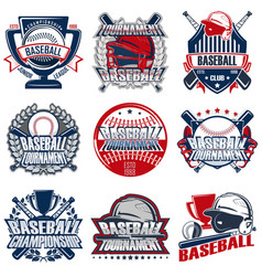 set 9 baseball badge vector image