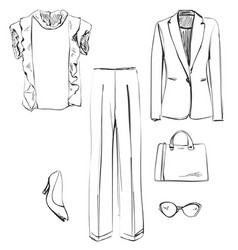 set of clothes for women shirt jacket pants vector image