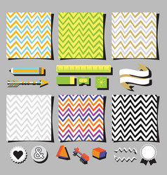 Set of colorful chevron background square cards vector