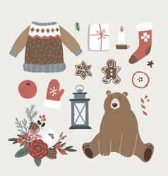 set of cute christmas animal lifestyle and food vector image