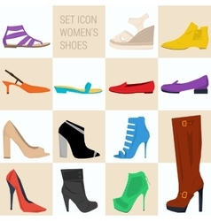 Set of icon women shoes in flat style vector image