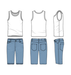set of male vest and jeans shorts vector image