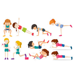 set of woman exercise vector image