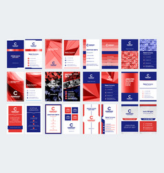 Set vertical double sided business card vector