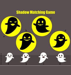shadow matching game kids activity with ghosts vector image