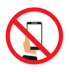 Sign of ban call to turn off phone with shadow vector