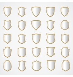 Silver shield design set with various shapes vector image